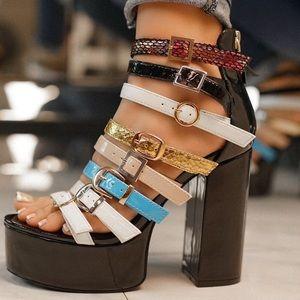 Black chunky platform heel